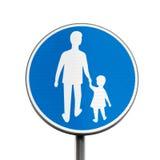 Peatones solamente Señal de tráfico redonda azul imagen de archivo libre de regalías