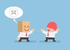 Peau d'homme d'affaires ses émotions tristes derrière un sac de papier de sourire illustration de vecteur
