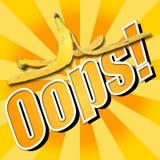 Peau de banane d'Oops Photographie stock