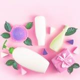 Peau naturelle de produit biologique d'emballage de bouteille de shampooing-crème de douche de gel de lait de vert de feuilles d' photo stock