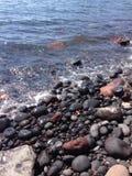 Pebble海滩圣托里尼希腊& x28; Akrotiri& x29; 库存照片