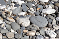 Pebble background. Pebbly beach in New Zealand. Pebble background. Pebbly beach at Tauparikaka Marine Reserve, Haast, New Zealand Stock Photo