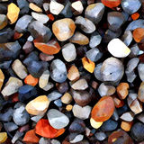 Pebble background with round colorful pebbles from the sea beach. Digital illustration in painting style. Royalty Free Stock Photography