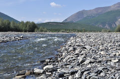 Pebble Bank of a mountain river. Stock Photography