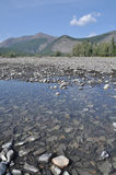 Pebble Bank of a mountain river. Royalty Free Stock Photo