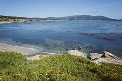 Pebble Beach ao longo da baía de Monterey fotografia de stock royalty free