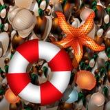 Pebble Beach avec la balise de vie, les coquillages et l'étoile de mer illustration stock