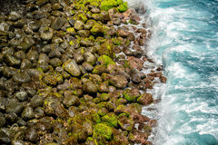 Pebble beach with black rocks, green seaweed, and blue water. Background Stock Photo