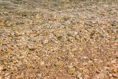 Pebble Beach con il fondo azzurrato di struttura dell'acqua di mare Modello di pietra sotto l'acqua in un bello giorno di estate  immagine stock