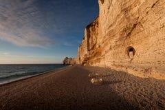 The pebble beach at Etretat Stock Photography