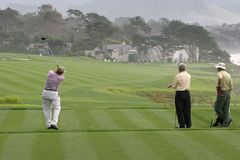 Pebble Beach golf hole 9 Stock Photography