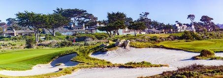 Pebble Beach Golf. Point Joe,  Del Monte Forest, California, February 17, 2018: Golf course views of seaside links of the Monterey Peninsula Country Club Stock Photo