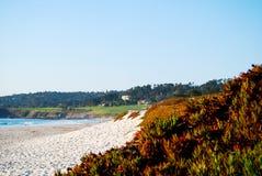 Pebble Beach hål 14 som ses från shoreline Royaltyfri Bild