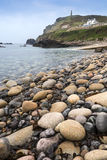 Pebble beach and headland at Cornwall Royalty Free Stock Images