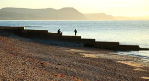 Pebble beach. On Jurassic Coast in Lyme Regis, Dorset royalty free stock photography