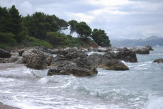 Pebble beach in Montenegro. Landscape. Stock Photo