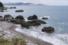 Pebble beach in Montenegro. Landscape. Royalty Free Stock Images