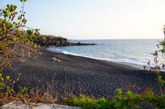 Pebble Beach nero in Hawai Fotografia Stock Libera da Diritti