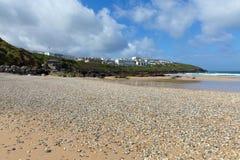 Pebble beach Newquay North Cornwall UK Royalty Free Stock Photo