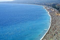Pebble beach in Nice city, France Stock Image
