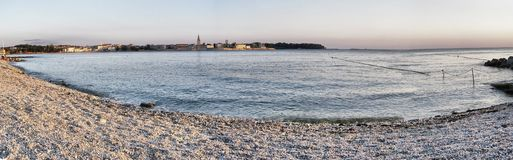 Pebble beach panorama Stock Photography
