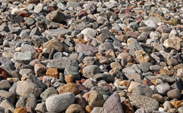 Pebble Beach. Pebbles on sunny beach, traditional British seaside scene Stock Images