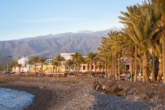 Pebble beach Playa de Las Americas, Tenerife, Canary Islands, Sp Stock Photo