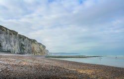 Pebble beach and shoreline at the Alabaster Coast stock photos