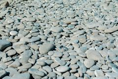 Pebble beach on a sunny summer day, background, selective focus royalty free stock photography