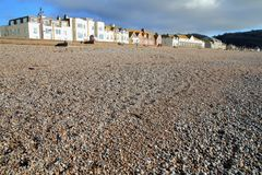 Pebble beach in town of Seaton. In East Devon on the Jurassic Coast Stock Photos