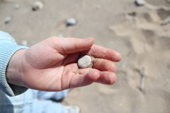 Pebble in a Child`s Hand. Hope held in your hand.  Strong fragility. Breathless wonder. Childlike faith Royalty Free Stock Photos