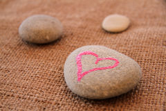 Pebble and heart. With handwritten text Royalty Free Stock Image