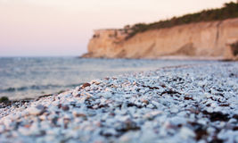 Pebble limestone beach during sunset Royalty Free Stock Images