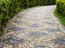 Pebble path in a garden Stock Photo