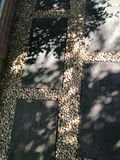 Pebble pathways in garden Stock Image