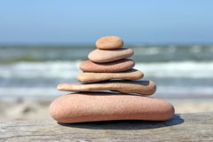 Pebble pyramid. Stones balancing on each other Royalty Free Stock Image