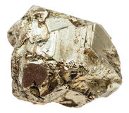Pebble of pyrite stone isolated Royalty Free Stock Images