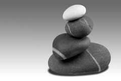 Pebble sculpture Greyscale. Black and white image of a pebble sculpture Stock Photo