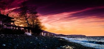 Pebble Shore Sunset Stock Image