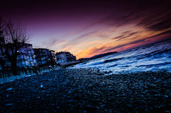 Pebble Shore Sunset Royalty Free Stock Images