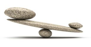 Pebble stability scales with large and small stones. Over white Royalty Free Stock Photos