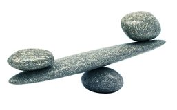 Pebble stability scales with stones Stock Image