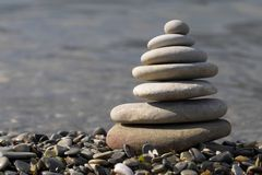Pebble stack. On the sea coast lline Royalty Free Stock Photography