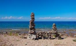 Pebble stack. On the seashore Royalty Free Stock Photos