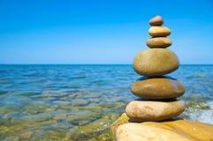 Pebble stack. On the seashore Stock Photo