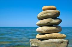 Pebble stack. On the seashore Stock Image