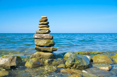 Pebble stack. On the seashore Royalty Free Stock Images