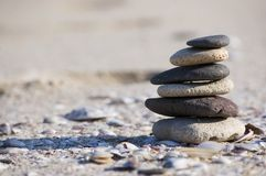 Pebble stack. On the seashore Royalty Free Stock Photography