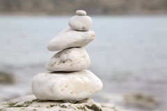 Pebble Stack in Lulworth Cove Beach, Dorset Stock Photos