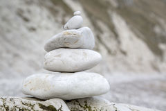Pebble Stack in Lulworth Cove Beach, Dorset Royalty Free Stock Photos